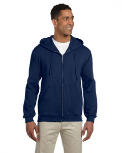 J Navy 9.5 oz., 50/50 Super Sweats® NuBlend® Fleece Full-Zip Hood