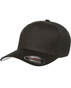 Black 6-Panel Structured Mid-Profile Cap