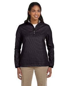 Black Women's Houndstooth Half-Zip Jacket