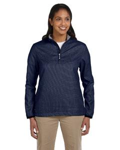 Navy Women's Houndstooth Half-Zip Jacket