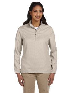 Khaki Women's Houndstooth Half-Zip Jacket