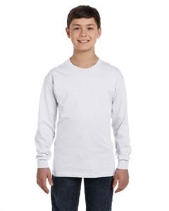 White Youth 6.1 oz. Tagless® ComfortSoft® Long-Sleeve T-Shirt
