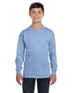 Light Blue Youth 6.1 oz. Tagless® ComfortSoft® Long-Sleeve T-Shirt