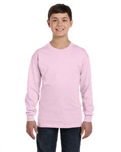Pale Pink Youth 6.1 oz. Tagless® ComfortSoft® Long-Sleeve T-Shirt