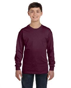 Maroon Youth 6.1 oz. Tagless® ComfortSoft® Long-Sleeve T-Shirt