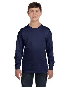 Navy Youth 6.1 oz. Tagless® ComfortSoft® Long-Sleeve T-Shirt