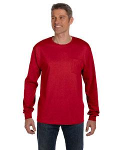 Deep Red 6.1 oz. Tagless® ComfortSoft® Long-Sleeve Pocket T-Shirt