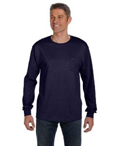 Navy 6.1 oz. Tagless® ComfortSoft® Long-Sleeve Pocket T-Shirt