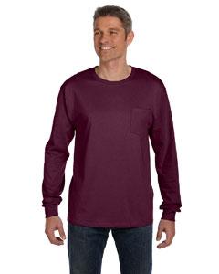Maroon 6.1 oz. Tagless® ComfortSoft® Long-Sleeve Pocket T-Shirt