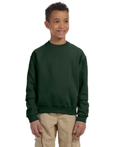Forest Green Youth 8 oz., 50/50 NuBlend® Fleece Crew