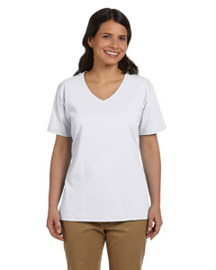 White Women's 5.2 oz. ComfortSoft® V-Neck Cotton T-Shirt