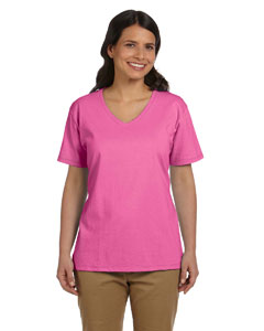 Pink Women's 5.2 oz. ComfortSoft® V-Neck Cotton T-Shirt