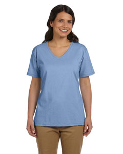 Light Blue Women's 5.2 oz. ComfortSoft® V-Neck Cotton T-Shirt