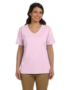 Pale Pink Women's 5.2 oz. ComfortSoft® V-Neck Cotton T-Shirt