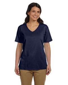 Navy Women's 5.2 oz. ComfortSoft® V-Neck Cotton T-Shirt