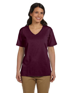 Maroon Women's 5.2 oz. ComfortSoft® V-Neck Cotton T-Shirt