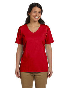 Deep Red Women's 5.2 oz. ComfortSoft® V-Neck Cotton T-Shirt