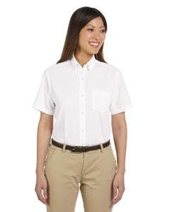 White Women's Short-Sleeve Wrinkle-Resistant Oxford
