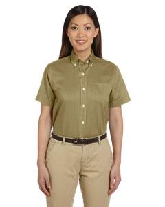 Khaki Women's Short-Sleeve Wrinkle-Resistant Oxford
