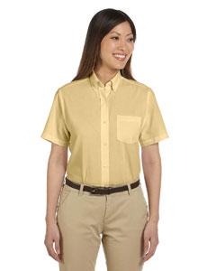 Yellow Women's Short-Sleeve Wrinkle-Resistant Oxford