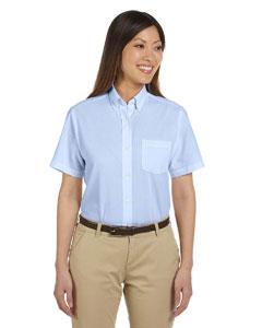 Light Blue Women's Short-Sleeve Wrinkle-Resistant Oxford