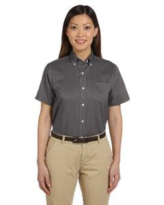 Dark Grey Women's Short-Sleeve Wrinkle-Resistant Oxford