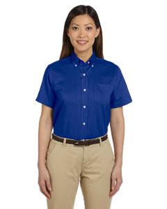 English Blue Women's Short-Sleeve Wrinkle-Resistant Oxford