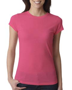 Hot Pink Ladies' Poly/Cotton Short-Sleeve Tee