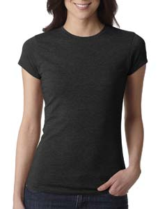 Black Ladies' Poly/Cotton Short-Sleeve Tee