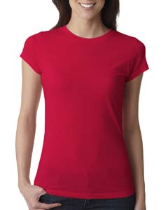 Red Ladies' Poly/Cotton Short-Sleeve Tee