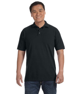 Black Men's Ringspun Piqué Polo