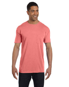 Neon Red Orange 6.1 oz. Garment-Dyed Pocket T-Shirt