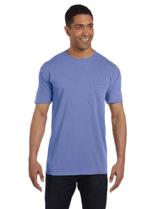 Flo Blue 6.1 oz. Garment-Dyed Pocket T-Shirt