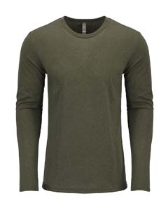 Military Green Men's Triblend Long-Sleeve Crew Tee