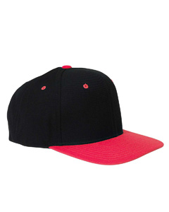 Black/red 6-Panel Structured Flat Visor Classic Snapback