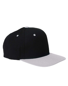 Black/silver 6-Panel Structured Flat Visor Classic Snapback