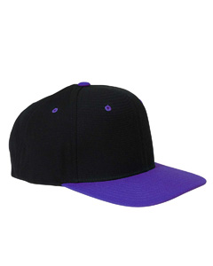 Black/purple 6-Panel Structured Flat Visor Classic Snapback