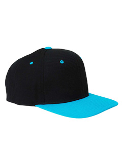 Black/teal 6-Panel Structured Flat Visor Classic Snapback