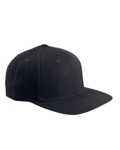 Black 6-Panel Structured Flat Visor Classic Snapback