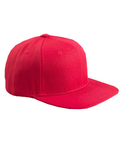 Red 6-Panel Structured Flat Visor Classic Snapback