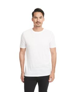 White Men's Poly/Cotton Short-Sleeve Crew Tee