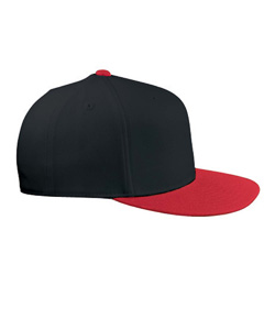 Black/red 210 Fitted Flat Visor Cap