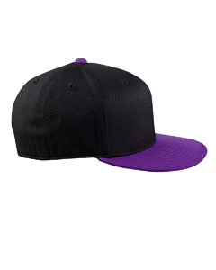 Black/purple 210 Fitted Flat Visor Cap