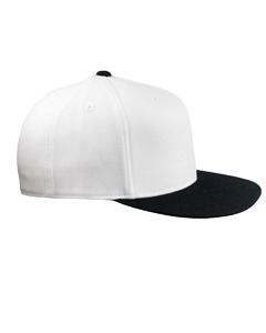 White/black 210 Fitted Flat Visor Cap