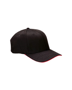 Black/red Wooly Cap with Sandwich Bill