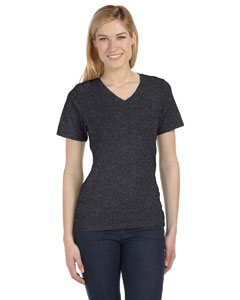 Dark Grey Heather Missy Jersey Short-Sleeve V-Neck T-Shirt