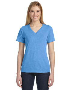 Blue Triblend Missy Jersey Short-Sleeve V-Neck T-Shirt