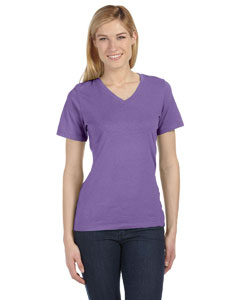 Purple Triblend Missy Jersey Short-Sleeve V-Neck T-Shirt