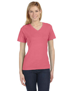 Lt Red Triblend Missy Jersey Short-Sleeve V-Neck T-Shirt
