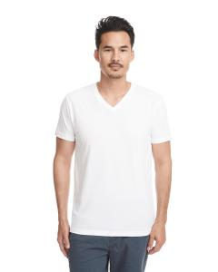 White Men's Premium Fitted Sueded V-Neck Tee